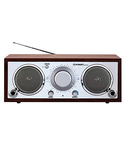TZS First Austria Retro Radio, nostalgisches Küchenradio, Analog-Radio für Senioren, integrierter Lautsprecher, Aux-Anschluss für MP3-Player & Smartphone, in Holz/Silber, 230 V