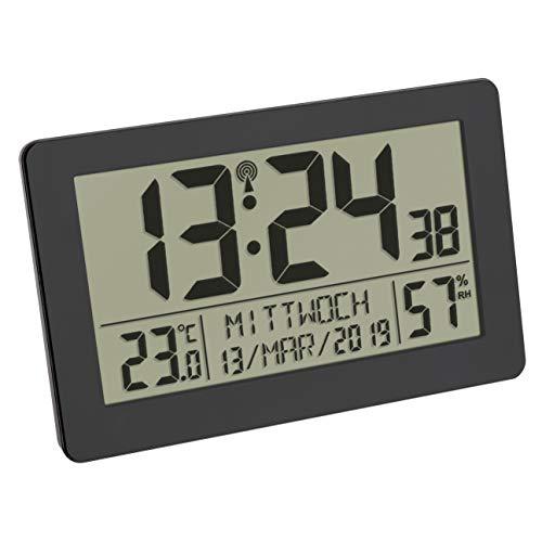 TFA Dostmann Digitale Funk-Wanduhr, großes Display, mit Temperaturanzeige, Datum, Wochentage, Kunststoff, Schwarz, L 206 x B 30 (59) x H 130 mm
