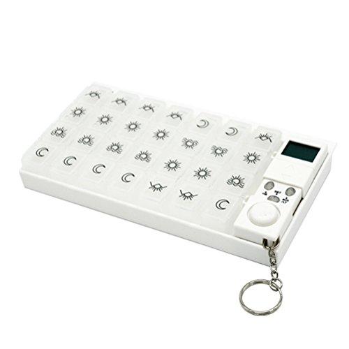 BESTOMZ Pillenbox mit Alarm 7 Tage 28 Fächer Pillendose Automatisch