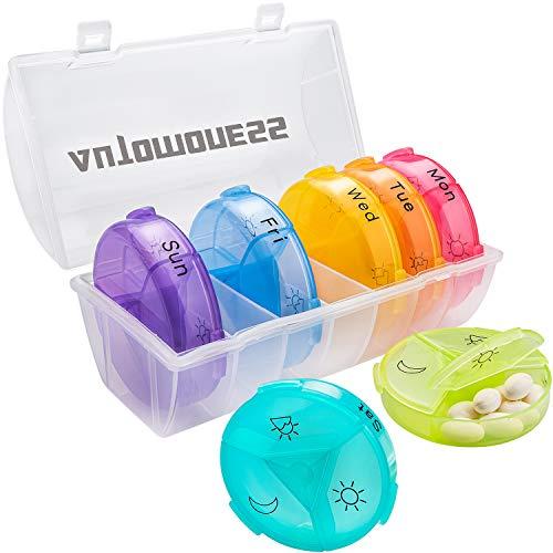 Medikamentenbox Tablettenbox 7 Tage,Pillenteiler Pillendose 7 Tage 3 fächer,Automoness Tablettenbox 7 Tage für Vitamin- und Medikamente Aufbewahrung*