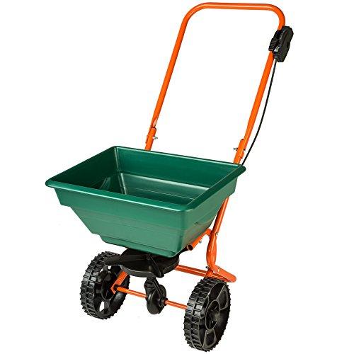 TecTake 402424 Streuwagen mit 25 Liter Fassungsvermögen, vielseitig einsetzbar, große Räder für leichtes Vorankommen