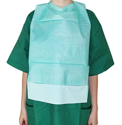 Medi-Inn Einmal-Esslätzchen 64 cm x 36 cm grün   50 Stück   Esslatz mit PE-Beschichtung und praktischer Auffangtasche   für Erwachsene, Senioren oder Kinder
