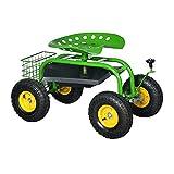 HENGMEI Gartensitz Rollsitz fahrbar Sitzgelegenheit Arbeitssitz Gartenwagen Rollwagen für Haushalt und Garten (Modell C)