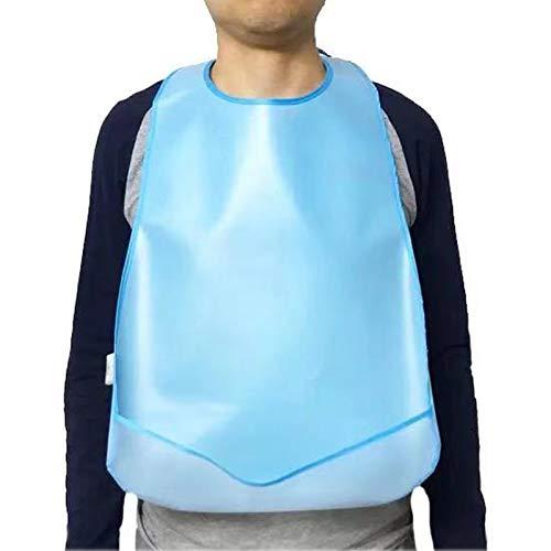 Lätzchen Silikon Wasserdicht Kleidungsschutz Lätzchen für ältere Erwachsene Männer Frauen Essen Waschbar Blau 2 Stück