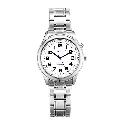 PROFI Sprechende Armbanduhr Z-Armband SILBER Uhr Senioren Blindenuhr Zeitansage Kalender (40mm Herrenuhr)