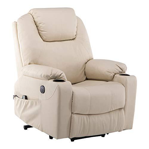 MCombo Elektrisch Aufstehhilfe Fernsehsessel Relaxsessel Massage Heizung elektrisch verstellbar USB (Creme)