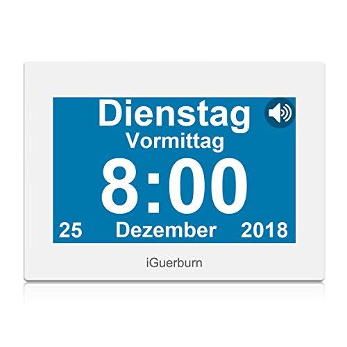 iGuerburn Digitaler Sprechende Kalender Touchscreen Wecker Tag mit 8' Großer Bildschirm für Demenz, Alzheimer, Senioren / 6 Sprachen, Sprecher Funktion & Ärzte Erinnerung (Weiß)