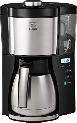 Melitta 1025-18 Look V Timer Filter-Kaffeemaschine mit Thermo-Kanne und Timerfunktion, 1080, abnehmbaren Wassertank und Entkalkungsprogramm, 1.25 liters, schwarz