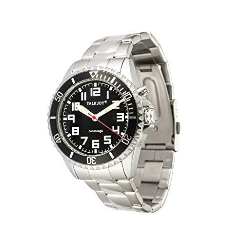 Profi Herren Sprechende Armbanduhr Z-Armband Uhr Blindenuhr SCHWARZES ZIFFERNBLATT und Bügelverschluss für Blinde oder Senioren geeignet