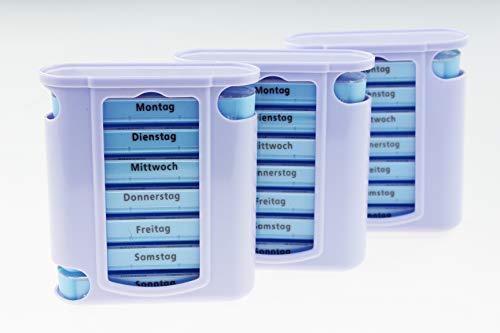 Kamaca ® - 4 er Pack (= 4 Stück) praktischer Medikamentendosierer für Fast einen Monat, Pillendose,Pillenbox, Tablettenbox, Wochendosierer, 28 Tage Shop