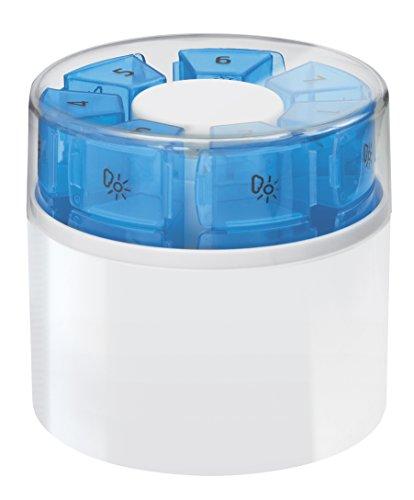 First Aid Only 7 TAGE Tablettendosierer mit Tablettenteiler und Tablettenmörser, 7 Kassetten mit je 4 bedruckten Fächern für 4 Tageszeiten, weiß/blau, Kunststoff, P-10000
