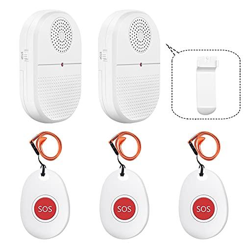 Mobiler Alarm Notruf Knopf/Pflegeruf Set/alarmanlage Haus/hausnotruf senioren,Für Schwangere Frauen, Patienten,ältere Menschen notfallknopf (2xEmpänger+3xSOS Sender)