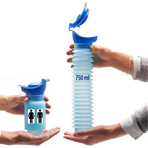 Lunata 750ml Universal Mini Urinal für Mann, Frau & Kind, Mobiltoilette, Personal Toilet, Notfall Reisetoilette, Notfall WC, biegsame Urinflasche
