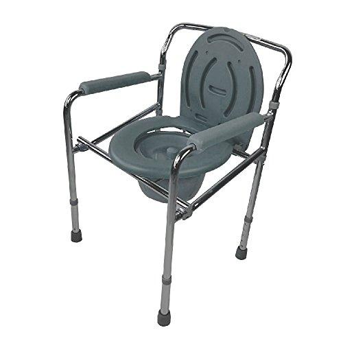 Mobiclinic, Modell Puente, Toilettensitz für Ältere und Behinderte, Toilettenstuhl mit Deckel, WC Sitz, Verchromter Stahl, Höhenverstellbar, Eimer leicht herauszuziehen, Armlehne
