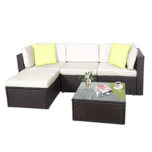 GOJOOASIS Polyratten Lounge, 5 Teilig Sitzgruppe, 200cm Gartenmöbel Garnitur für 3-4 Personen, Couch-Set in Braun-schwarz mit beigen Bezügen&grünen Kopfkissen, für Garten, Terrasse&Balkon(2 Pakete)