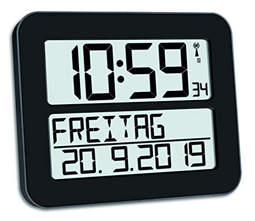 TFA Dostmann TimeLine Max Digitale Funkuhr, Kunststoff, Schwarz, L 258 x B 30 (120) x H 212 mm