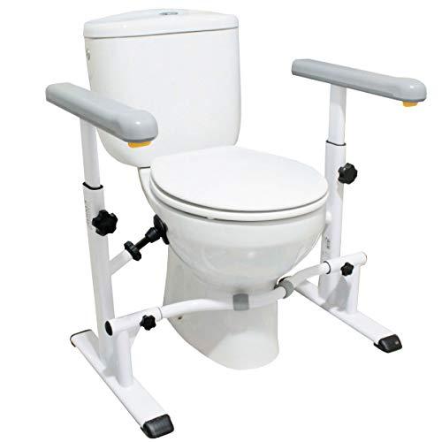 KMINA - Toilettengestell WC-Aufstehhilfe, Breitenversetellbares Toilettengestell, Aufstehhilfe Toilettem, Toilettenstütz, WC-Stützhilfe