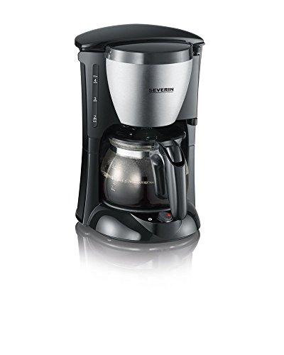 SEVERIN Kaffeemaschine, aromatischer Kaffee mit dem Kaffeebereiter für bis zu 4 Tassen, kompakte Filterkaffeemaschine für Singles, Reisende und Senioren, Edelstahl-gebürstet / schwarz, KA 4805