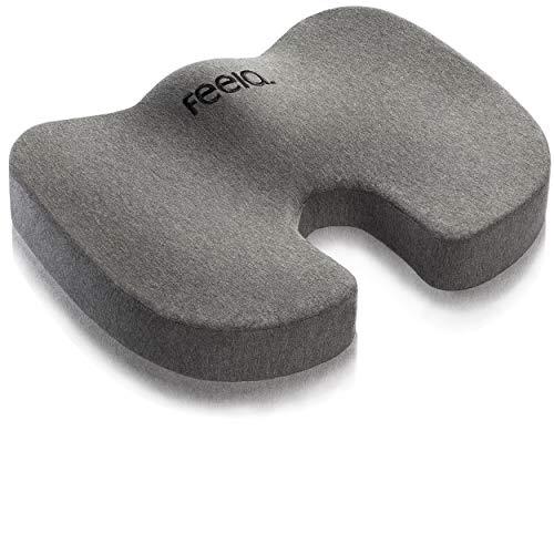 feela.® Orthopädisches Sitzkissen [3 Härtegrade] - Ergonomisches Sitzkissen für Bürostuhl & Co - Wirkt Schmerzreduzierend, Erhöht Sitzkomfort, Fördert Durchblutung und Entlastet das Steißbein (Hart)