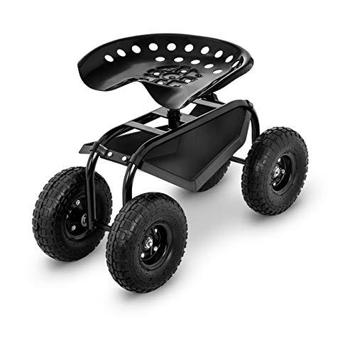 Hillvert HT-RUNDLE-4 Fahrbarer Gartensitz 150 kg große Räder Ablage Garten Rollsitz Gartenhelfer Sitzwagen