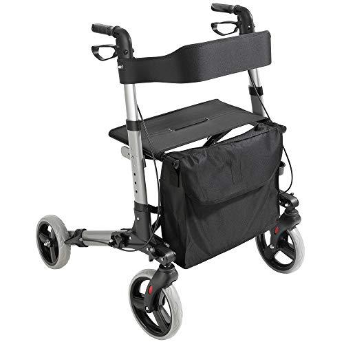 Arebos Leichtgewicht Rollator | Aluminium | 6-fach höhenverstellbar | bequeme Sitzfläche | Stockhalter | abnehmbare Einkaufstasche | zusammenklappbar | sofort einsatzbereit | Schwarz