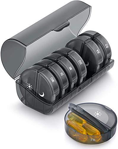 SUKUOS Tablettenbox 7 Tage Morgens Abends, Pillendose Rund 7 Tage 2 fächer, Handlicher und Feuchtigkeitsbeständiger Medikamentenbox Medikamentendosierer Woche - Schwarz