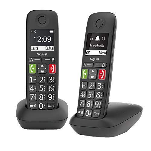 Gigaset E290HX - Schnurloses IP-Telefon für Senioren zum Anschluss am Router - große Tasten, großes Display, Zielwahltasten für wichtige Nummern, Verstärker-Funktion für lautes Hören, schwarz