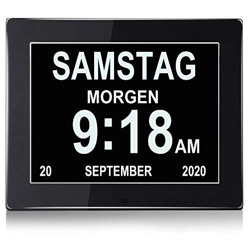 YKal 8'Zoll LCD-Digitaluhrkalender mit Datum, Tag und Uhrzeit, Nicht abgekürzte Uhr, automatisches Dimmen 8 Sprachen HD-Display-Erinnerung für ältere Alzheimer-Kinder und Kinder (schwarz)