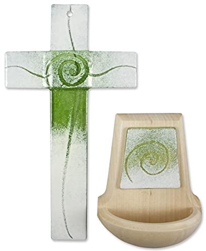 MaMeMi Glaskreuz + Weihkessel als Set hellgrün/weiß mit Spirale