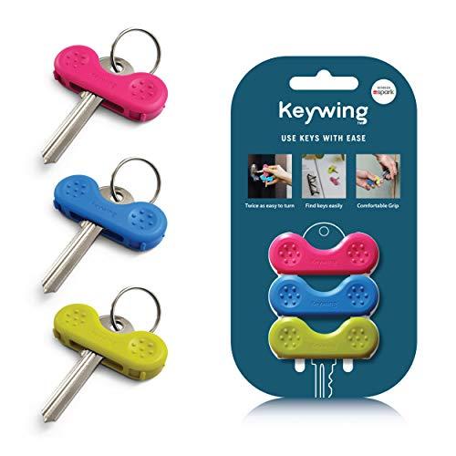 Keywing Dreierpackung v2. Ideale Schlüsseldrehhilfe. Schlüssel lassen sich leichter greifen, halten und drehen. Hilft Menschen mit Arthritis, multipler Sklerose und schlecht beweglichen Händen.