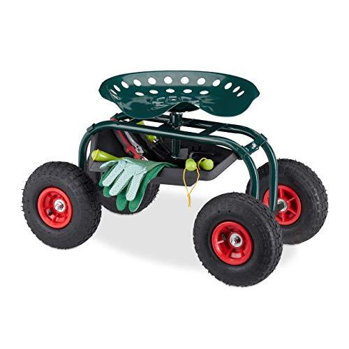 Relaxdays Garten Rollsitz, höhenverstellbarer Rollwagen, fahrbarer Gartenhocker, mit Ablagefach, bis 125 kg , dunkelgrün