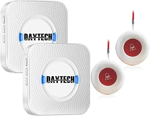 Daytech Batterielose Funkklingel, Wasserdicht Außenbereich/Außen, Türklingel Kabellose/Türklingel 2 Sender 2 Empfänger, 4 Lautstärkestufen, 55 Klingeltönen,Über 150 Meter Reichweite im Freien!
