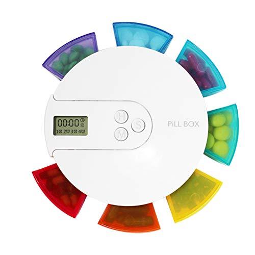 TOPBATHY Pillendose Elektronische Digital Pillenbox Tablettenbox mit Wecker Timer Alarm 7 F?Cher Lagerung Tragbar (Bunt)