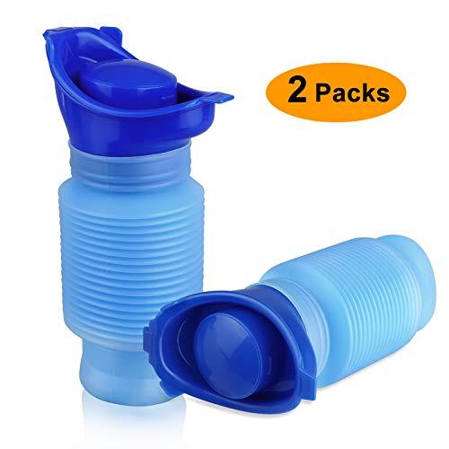 EEEKit 2-Stück Schrumpfbares Urinal, 750 ml tragbare Mobile Toilette für Männer, Töpfchen, Urinflasche, wiederverwendbares Notfallurinal für Staus und Warteschlangen bei Campingautos