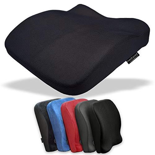 Medipaq Sitzkissen Auto - Mit Memory Schaum Gefülltes Ergonomisches Sitzkissen 2-In-1 - Reduzieren Sie Rückenschmerzen – Lordosenstütze Auto