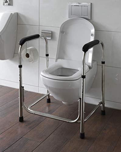 WC Aufstehhilfe höhenverstellbar aus Edelstahl Toiletten Stützgestell Model WC75