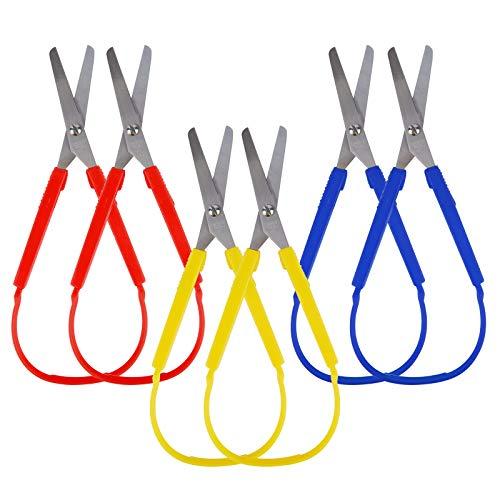 NBEADS 6 Stk. 3 Farben Mini Loop Schere, Selbstöffnende Edelstahlschere Mit Adaptivem Design Easy Grip-Schere Für Bastelprojekte