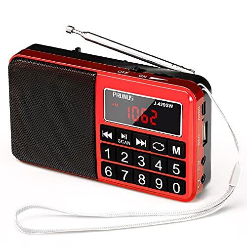 PRUNUS L-238SW Tragbares Radio klein FM/AM(MW)/SW,Große Gummierte Knöpfe&Display Digital Radio für Senioren,Kleines Radio mit AUX/SD/TF/MP3 Lautsprecher,Batteriebetrieben.(Rot)