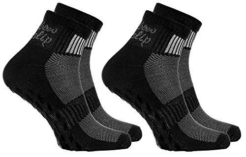 Rainbow Socks - Damen Herren Sneaker Baumwolle Antirutsch Sport Stoppersocken - 2 Paar - Schwarz - Größen 44-46