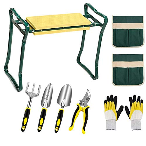Kniebank mit Gartenwerkzeugen - klappbarer Kniesitz mit 5 Garden-Tools, Gartenhandschuhe und 2 Werkzeugtaschen
