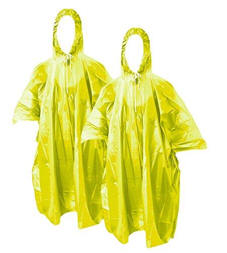 com-four® 2X Regenponcho mit Kapuze - Regenschutz mit Mehrweg-Poncho - Notfallponcho für Konzert, Stadion, Wandern, Camping