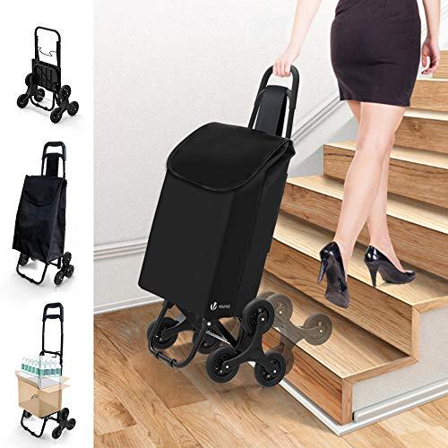 VOUNOT Einkaufstrolley Klappbar Treppensteiger, 3 Räder Einkaufswagen Faltbar, Einkaufsroller Trolly, Abnehmbare & Regenfeste