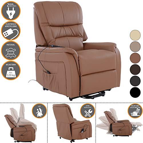 RABURG Fernsehsessel JAN mit elektrischer Aufstehhilfe - Schlafsessel XXL mit Liege- & Relaxfunktion aus Soft-Touch-Kunstleder - in COGNAC mit 2 kraftvollen Motoren + Fernbedienung