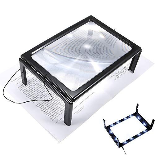AODOOR 2.5X Lupe mit 12 LED Licht, Leselupe A4 Vollbild Lupe für die Nutzung mit Halsschlaufe, Rechteckige Vergrößerungsglas mit Klappbarer Ständer für Senioren/Zeitungen/Landkarten/Schmuck/Handwerk