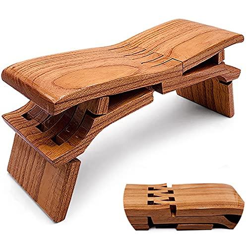 Folding Stool, Retro Klappbarer Tritthocker für Erwachsene Stuhl Luban Bank im Freien, Workout Faltbarer Holzhocker Multifunktionaler Yoga Bank Ulmenkleiner Holzhocker