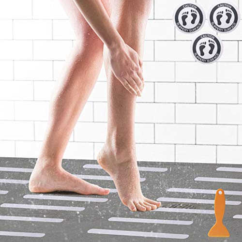Soulpala 24 Anti-Rutsch Streifen für Badewanne und Dusche 3 Caution Anti-Rutsch Sticker Badewanne Antirutsch Streifen Badewannen Aufkleber für Rutsch-Schutz für Ihr Bad & Treppenstufen mit Schaber