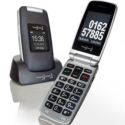 Großtasten Mobiltelefon, Seniorenhandy MB 100 Grau, Klapphandy u.a. mit Kamera, Notruftaste, sprechender Tastatur sowie LED Lampe