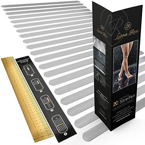 Luana Rose Anti-Rutsch Streifen für Badewanne & Dusche - Transparent & Selbstklebend - Premium Anti rutsch Badewannen Aufkleber Set - Dusch Sticker für 100% Rutsch-Schutz (20 Stück)