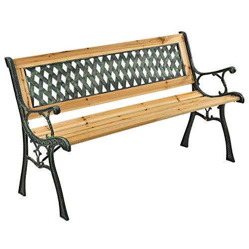 ArtLife 2-Sitzer Gartenbank Pisa aus lackiertem Holz & Gusseisen | naturbelassen | Rückenlehne + Armlehnen | Sitzbank Holzbank Gartenmöbel