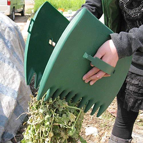 2 Stück Laubgreifer für den Außenbereich, Garten, große Kapazität, Laubschaufeln, Handrechen, Klaue, ergonomisch, Handharke, Greifer zum Aufheben von Blättern, nicht null, grün, Free Size